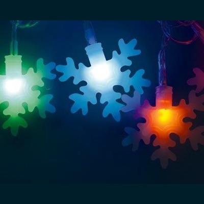 Гирлянда разноцветная led «Снежинки-3» 7м Новогодние товары/Китай
