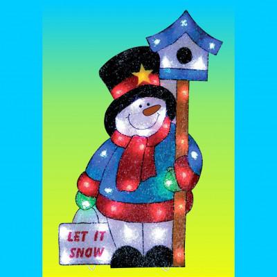"""Фигура  led """" Снеговик со скворечником """", Новогодние товары/Китай"""
